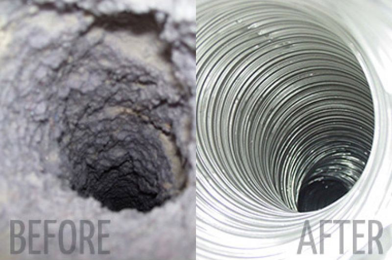 Before & After Dryer Vent Cleaning